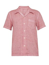 120 Lino Point Collar Linen Polo Shirt Pink