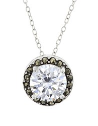Lord And Taylor Marcasite Sterling Silver Round Pendant Necklace