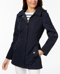 Jones New York Petite Hooded Quilted Coat Navy
