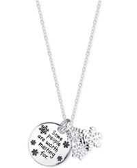 Disney Engraved Frozen Snowflake Pendant Necklace In Sterling Silver