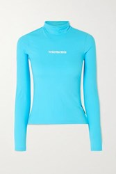 Vetements Printed Stretch Jersey Turtleneck Top Turquoise