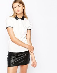 Fred Perry Polka Dot Collar Polo Shirt White