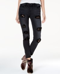Rampage Juniors' Lace Inset Ripped Skinny Jeans Timo