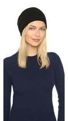 1717 Olive Cashmere Rolled Cuff Slouch Beanie Hat Black