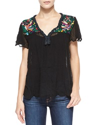 Golden By Jen Rossi Belen Short Sleeve Paradise Embroidered Blouse Black