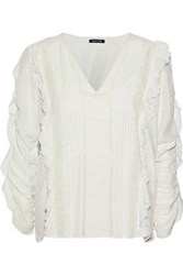 Love Sam Ruffle Trimmed Pintucked Modal Blend Jacquard Blouse Ivory