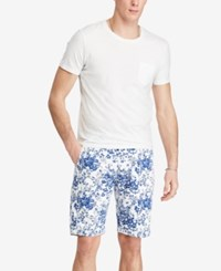 Denim And Supply Ralph Lauren Men's Slim Fit Floral Print Cotton Chino Shorts White