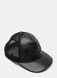 Gucci Leather Embossed Tiger Cap Black