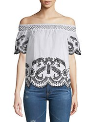 Saks Fifth Avenue Embroidered Off The Shoulder Top White Onyx