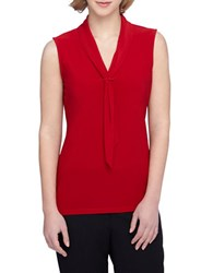 Tahari By Arthur S. Levine Petite Sailor Tie Knit Top Red