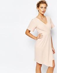 Closet Wrap Front Midi Dress With Square Front Pink
