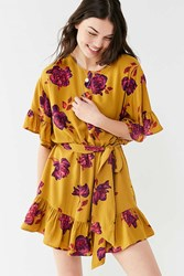 Urban Outfitters Uo Suddenly Spring Ruffle Tie Dress Chartreuse