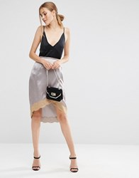 Asos Boudoir Wrap Lace Trim Slip Skirt Grey