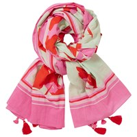 John Lewis Abstract Flower Tassel Scarf Pink Mix