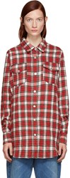 Off White Red Flannel Plaid Shirt