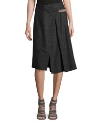 Brunello Cucinelli Wrap Front Wool Blend Midi Skirt Gray
