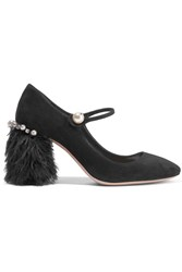 Miu Miu Feather Trimmed Embellished Suede Mary Jane Pumps Black