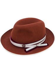 Maison Michel Fedora Hat Women Wool Felt S Brown