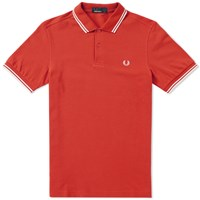 Fred Perry Slim Fit Twin Tipped Polo Red