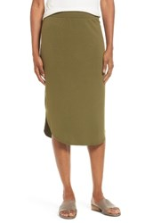 Eileen Fisher Women's Jersey Shirttail Hem Skirt Olive