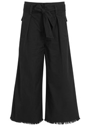 Etoile Isabel Marant Odea Cropped Wide Leg Cotton Trousers Black