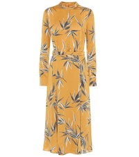 Equipment Sabenne Printed Satin Maxi Dress Yellow