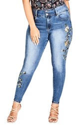 City Chic Plus Size Floral Love Embroidered Skinny Jeans Denim