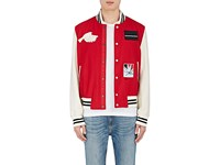 Ovadia And Sons Men's Paradise Wool Blend Varsity Jacket Red Ivory