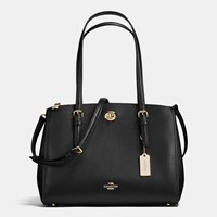 Coach Turnlock Carryall 29 In Crossgrain Leather Light Gold Black