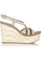Miu Miu Suede And Wood Wedge Sandals Nude
