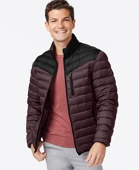 Inc International Concepts Color Blocked Down Packable Jacket Burgundy