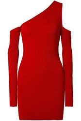 Amiri Woman Cutout One Shoulder Ribbed Knit Mini Dress Red