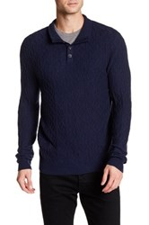 Quinn Cable Button Mock Neck Pullover Sweater Blue