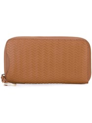 Zanellato Embossed Wave Continental Wallet Women Calf Leather One Size Nude Neutrals