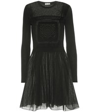 Red Valentino Embroidered Wool And Tulle Dress Black