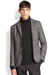 Sand Stretch Wool Herringbone Blazer Black White