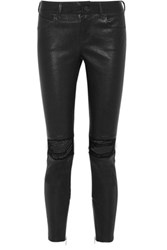 Rta Dylan Distressed Leather Skinny Pants Black