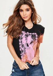 Missguided Black Bleach Washed Graphic Cropped T Shirt