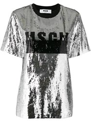 Msgm Sequin Embellished T Shirt Metallic