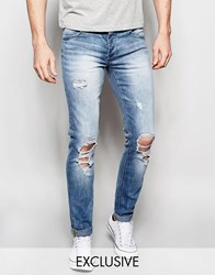 Sixth June Skinny Jeans With Distressing Blue