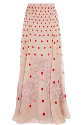 Temperley London Josette Embellished Polka Dot Silk Organza Maxi Skirt Pink