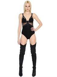 Alexandre Vauthier Stretch Jersey And Sheer Tulle Bodysuit