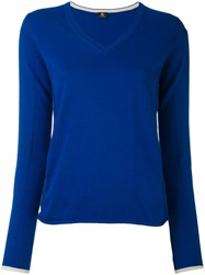 Paul Smith Ps By V Neck Jumper Women Cotton L Blue