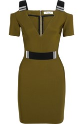 Thierry Mugler Mugler Cutout Embellished Stretch Crepe Mini Dress Army Green