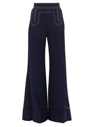 Khaite Vera Contrast Stitch Wide Leg Trousers Navy