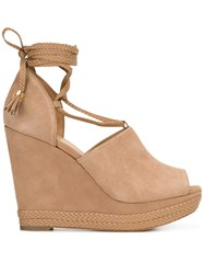 Michael Michael Kors Wedge Lace Up Pumps Nude Neutrals