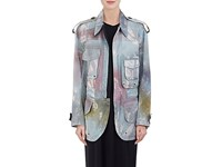 Acne Studios Women's Tie Dyed Cotton Field Jacket Green Dark Green