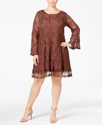 Plus Size Lace Fringe Trim Dress Medium Brown