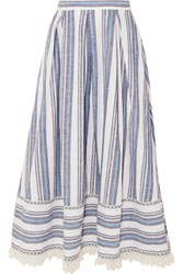 Gul Hurgel Lace Trimmed Striped Cotton And Linen Blend Skirt Blue