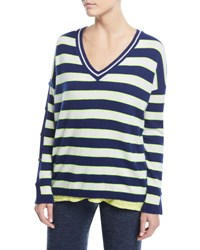 Minnie Rose Stripe Cashmere Button Sleeve Sweater Neon Margarita